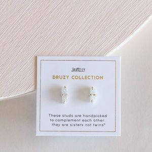 White Bar Druzy Stud Earrings